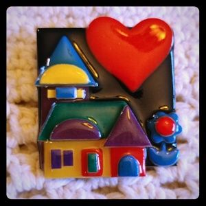 Red heart house pin by Lucinda